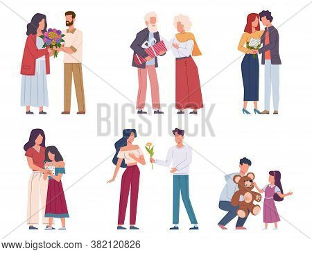 Man Giving Flowers. Young And Elderly Giving Beautiful Bouquets, Romantic Admirers Present Floral Gi