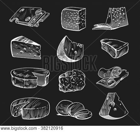 Hand Drawn Cheese. Chalkboard Sketch Various Types Of Cheeses Maasdam And Gouda, Mozzarella And Parm