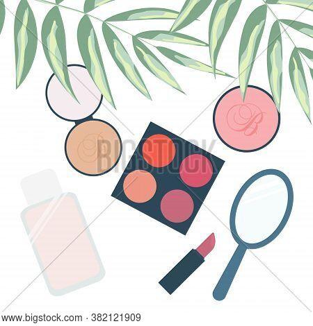 Cosmetics Layout. Eye Shadow, Blush, Foundation, Concealer, Lipstick. Set Of Vector Flat Icons Isola