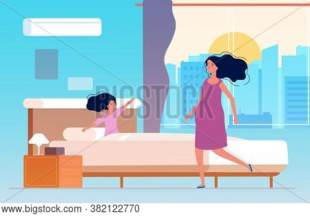 Waking Up Little Girl. Mother And Daughter In Morning Room. Say Hello New Day, Happy Family Time. Ch