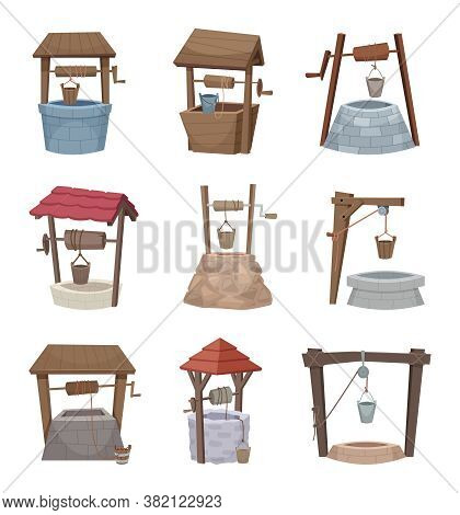 Water Well. Antique Cartoon Country Wellness Village Wooden Construction Vector Illustration. Countr