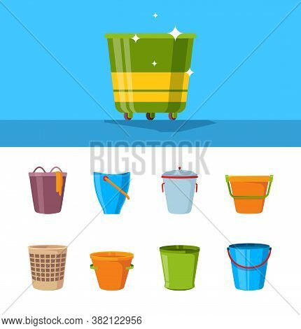 Bucket Cartoon. Plastic Wooden And Metallic Empty Containers With Handles Vector Illustrations Set.