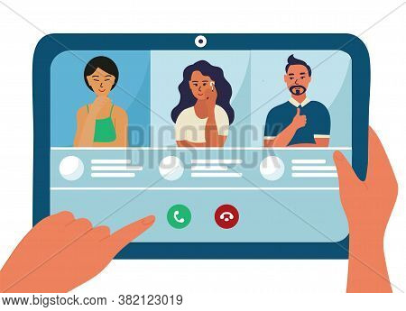 People Are On The Tablet Device Screen, Conference Video Call Vector Illustration Design. Asian Woma