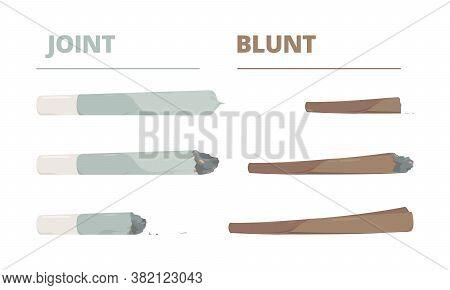 Marijuana Joint. Drugs Cigarette Smoke Cannabis Weed Vector Illustrations In Cartoon Style. Cannabis