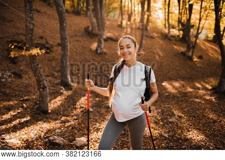 Portrait Of Young Happy Pregnant Woman Nordic Walking In Autumn Forest With Backpack And Trekking St