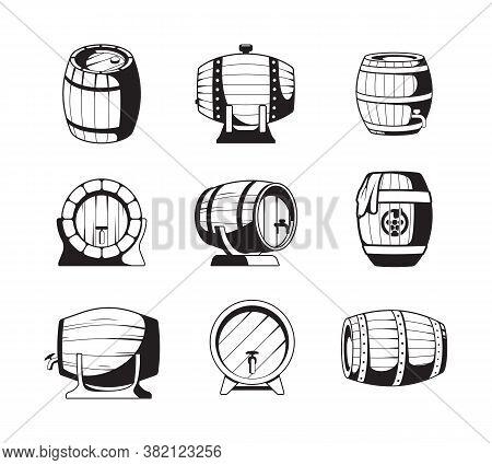 Barrels Silhouettes. Wooden Barrels Symbols For Wine Or Beer Business Logo Design Templates Vector E