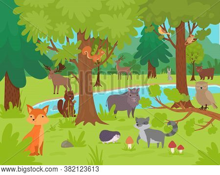 Animals In Forest Background. Wild Cute Happy Animals Living And Playing In Forest Glade With Big Tr