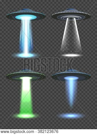 Ufo Lights. Futuristic Spaceship Spotlight With Fog Transparent Light Of Future Technology Vector Re