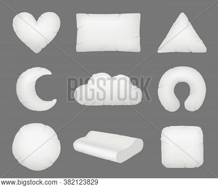 Orthopedic Pillows. Set Of Feathers Pillows For Relaxing Or Night Sleep On Sofa Realistic Mockup Col