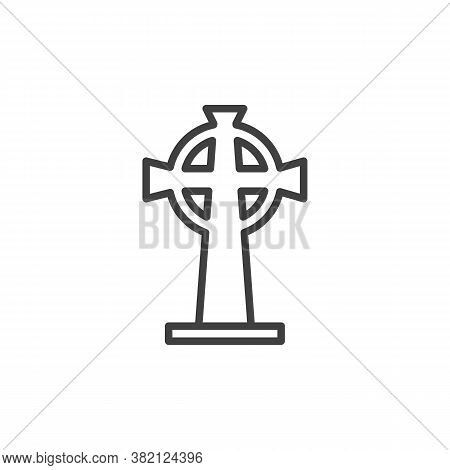 Tombstone With Cross Line Icon. Linear Style Sign For Mobile Concept And Web Design. Catholic Headst