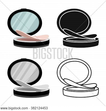 Isolated Object Of Mirror And Puff-box Symbol. Web Element Of Mirror And Blusher Vector Icon For Sto