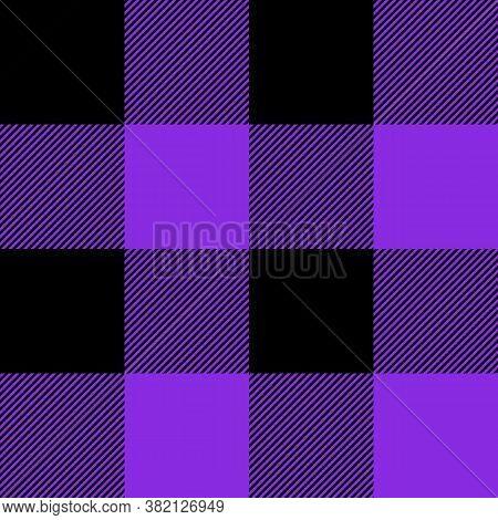 Tartan Plaid. Scottish Pattern In Black And Violet Cage. Scottish Cage. Traditional Scottish Checker