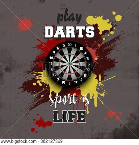 Dartboard Icon. Play Darts. Sport Is Life. Pattern For Design Poster, Logo, Emblem, Label, Banner, I