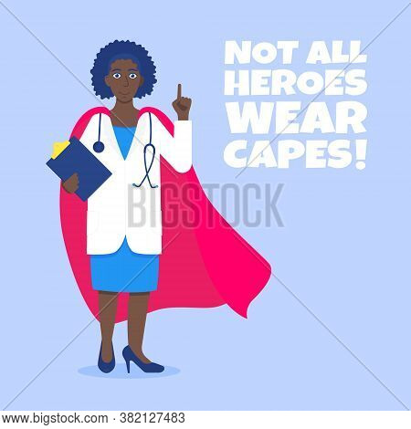 Young Adult Doctor Hospital Medical Employee With Hero Cape Behind Fights Against Diseases And Virus
