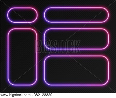 Neon Gradient Frames Set, Collection Of Blue-pink Glowing Rounded Rectangle Borders. Colorful Illumi
