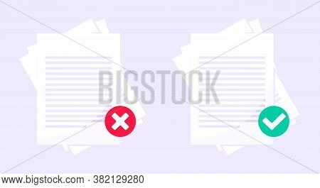 Rejected And Approved Claim Or Credit Loan Form, Paper Sheets Flat Style Design Vector Illustration.