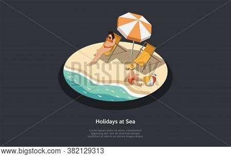 Summer Holidays And Vacations Concept. Female Character Tans On The Beach On A Sun Lounger. Baby Pla