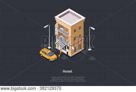 Hotel Service Concept. Man With Luggage Came By Taxi. Hotel Worker Meets The Guest. Two Male Charact