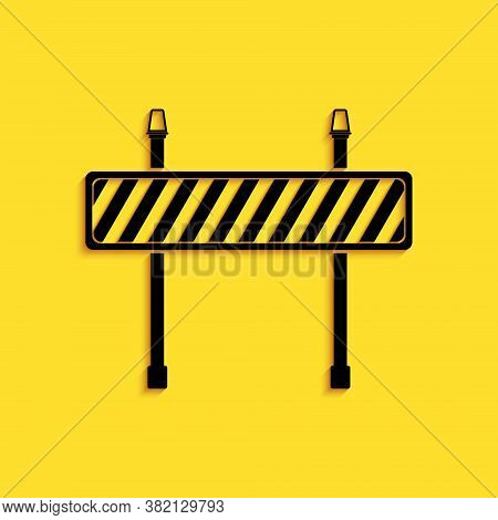 Black Road Barrier Icon Isolated On Yellow Background. Fence Of Building Or Repair Works. Hurdle Ico