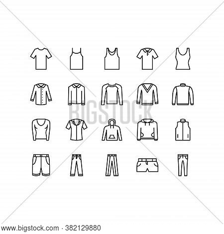 Clothing Line Icon Set. Vector Illustration Included Icon As T-shirt, Undershirt, Shirt, Sweater, Sw