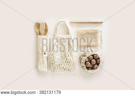 Eco Friendly Accessories - Bamboo Cutlery, Eco Bag, Reusable Bamboo Straw, Walnut. Zero Waste, Plast
