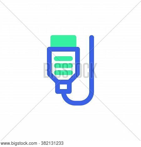 Usb Wire Cable Line Icon. Linear Style Sign For Mobile Concept And Web Design. Computer Cable Outlin
