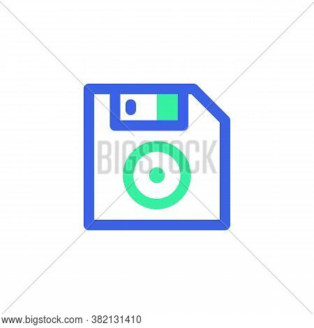 Computer Diskette Line Icon. Linear Style Sign For Mobile Concept And Web Design. Floppy Disk Outlin