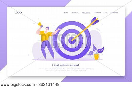 Goal Achievement Business Concept Sport Target Icon And Arrow In The Bullseye. Tiny Person With Mega