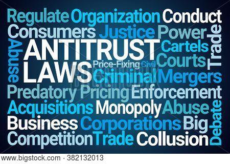 Antitrust Laws Word Cloud on Blue Background