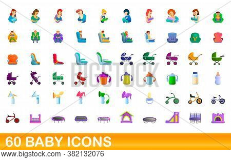 60 Baby Icons Set. Cartoon Illustration Of 60 Baby Icons Vector Set Isolated On White Background