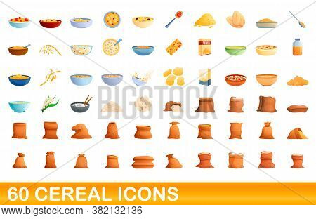 60 Cereal Icons Set. Cartoon Illustration Of 60 Cereal Icons Vector Set Isolated On White Background