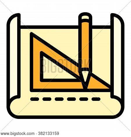 Architect Pencil Angle Ruler Icon. Outline Architect Pencil Angle Ruler Vector Icon For Web Design I