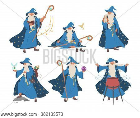 Old Wizard, Magician Cartoon Character Set, Flat Vector Isolated Illustration. Fantasy, Magic Merlin