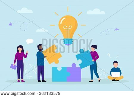 Business Perspective And Teamwork Concept. Cartoon Composition With Teamwork Shaped As Puzzle Assemb