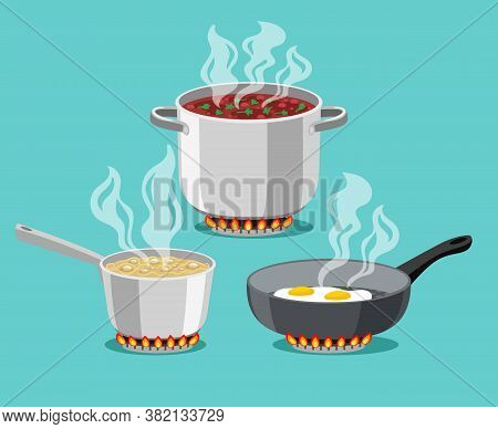 Cooking In Home Pans. Boiling Pot And Fried Pan Set, Cartoon Steel Cooking Pots With Boiling Soup An