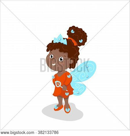 Cute Girl In Fairy Costume With Wings And Magic Wand. Afroamerican Girl In Princess Dress, Tiara And