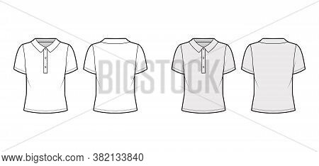 Polo Shirt Technical Fashion Illustration With Cotton-jersey Short Sleeves, Oversized, Buttons Along