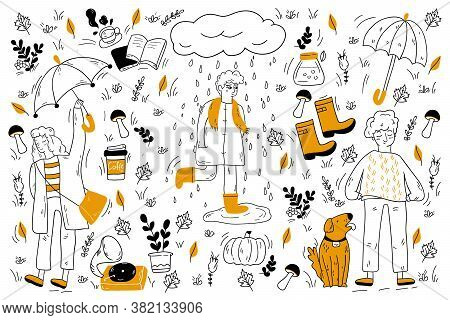 Autumn Doodle Set. Collection Of Hand Drawn Sketches Templates Of People Walking Under Poring Rain W