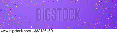 Festive Mesmeric Confetti. Celebration Stars. Festive Confetti On Violet Background. Amazing Festive