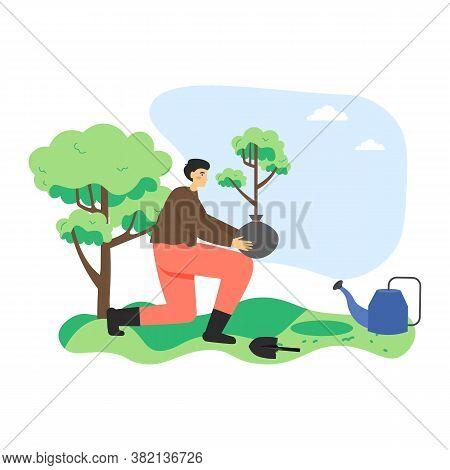 Man Ecologist, Volunteer Planting Tree In City Park, Flat Vector Illustration