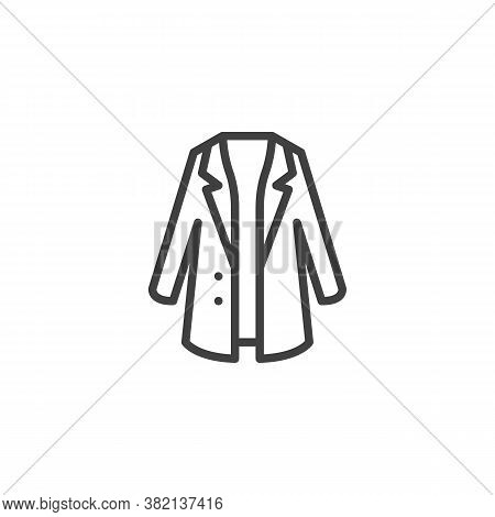 Trendy Stylish Coat Line Icon. Linear Style Sign For Mobile Concept And Web Design. Coat With Collar