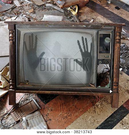 Ghost Appears On Flickering Tv Set