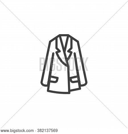 Womens Trench Coat Line Icon. Linear Style Sign For Mobile Concept And Web Design. Trench Coat Jacke