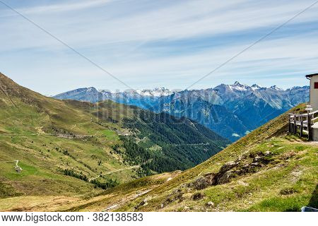 Penser Yoke Or Penser Joch In The Mountains Of South Tyrol Italy Europe. Landscape Panorama