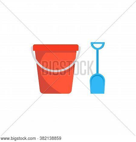 Beach Toys Pail And Shovel. Vector Illustration