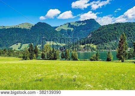Lake Walchsee Near Koessen At The Wilder And Zahmer Kaiser In Tirol, Austria.