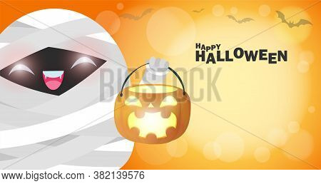 Happy Halloween, Cute Little Mummy Holding Pumpkin In The Moonlight, Halloween Banner Trick Or Treat