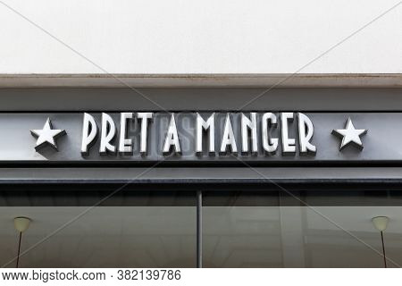 London, United Kingdom - September 25, 2019: Pret A Manger Logo On A Wall. Pret A Manger Is An Inter
