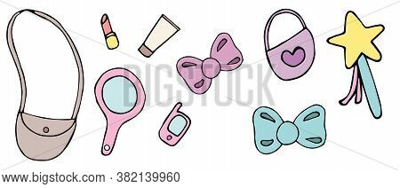 Cute Items In Womens Baby Bag, Vector Set Of Elements, Child Drawing, Decorative Element