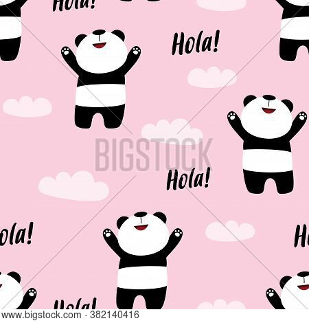 Cute Seamless Panda Pattern On Pink Background, Vector Illustration Of Panda Bear With Clouds And Le